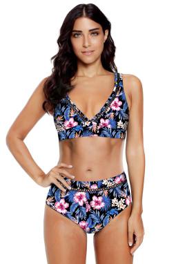蓝色碎花印花V领镂空高腰海滩泳池派对比基尼两件套
