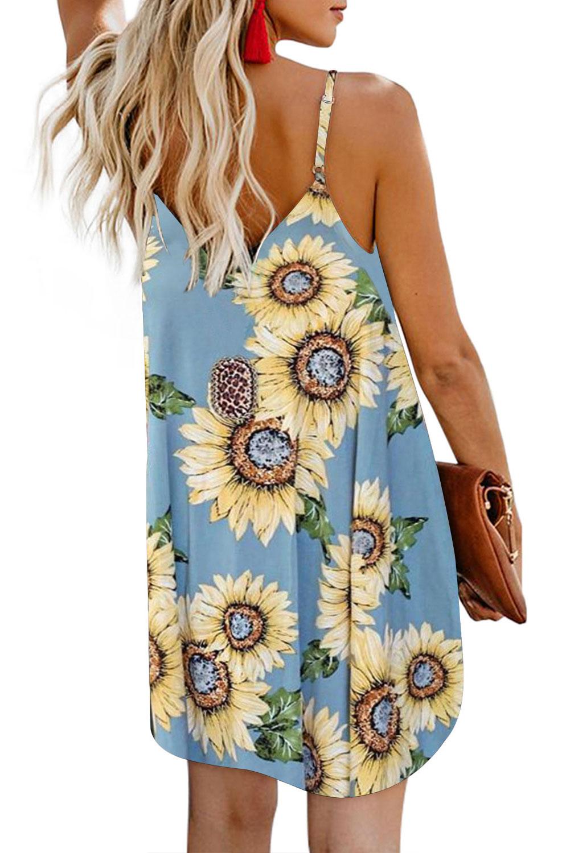 浅蓝色太阳花图案V领细肩带正面排扣i连衣裙 LC220720