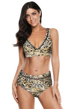 时尚豹纹印花V领镂空高腰海滩泳池派对比基尼两件套