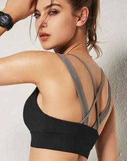 黑色交叉肩带运动瑜伽背心文胸