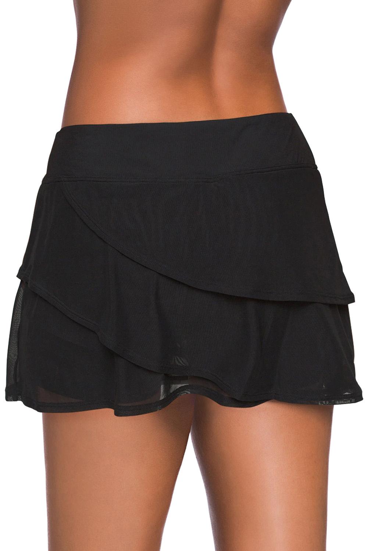黑色时尚分层设计裤裙泳裙 LC412191