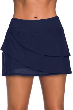 深蓝色时尚分层设计裤裙泳裙