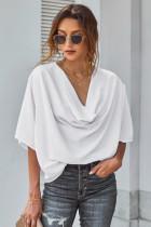白色优雅喇叭袖垂褶宽松女士衬衣