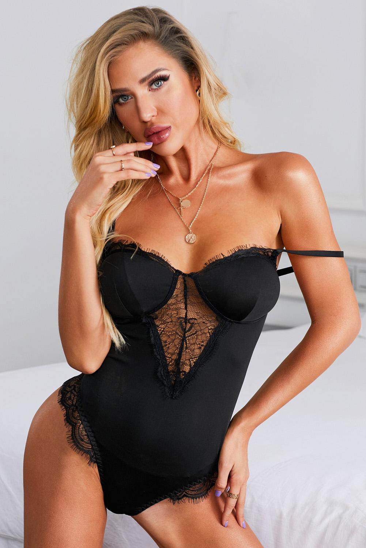 黑色蕾丝花边细肩带露背性感连体内衣 LC32410