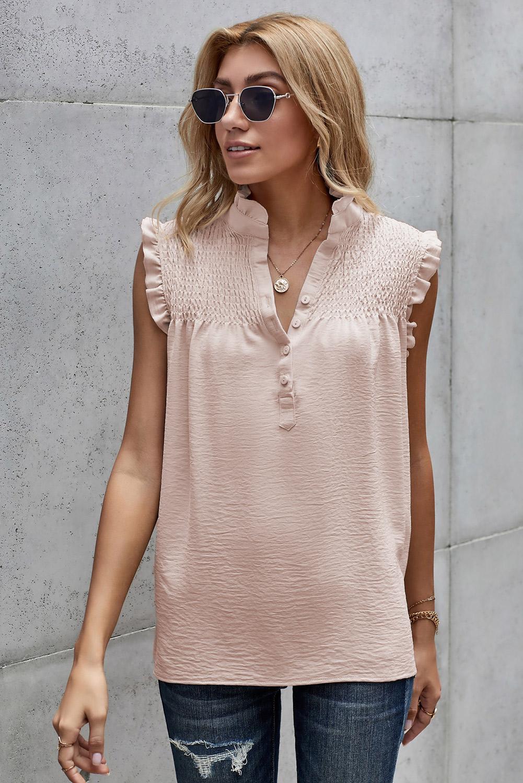 杏色系扣领优雅细褶宽松舒适女式背心 LC253438