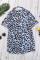 天蓝色豹纹印花别致镂空短袖舒适女士T恤