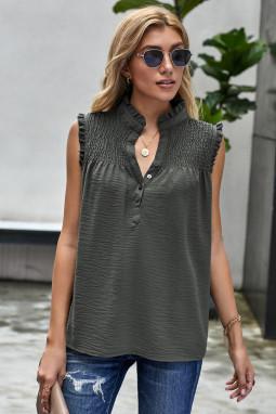 橄榄绿系扣领优雅细褶宽松舒适女式背心