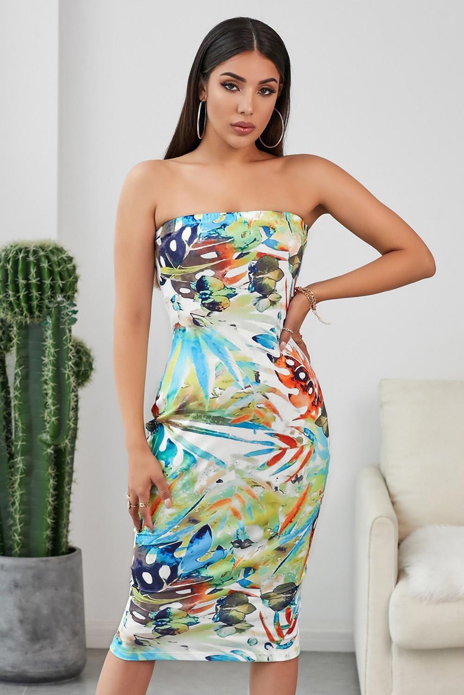 醒目性感露肩植物印花弹力贴合紧身连衣裙 LC221291