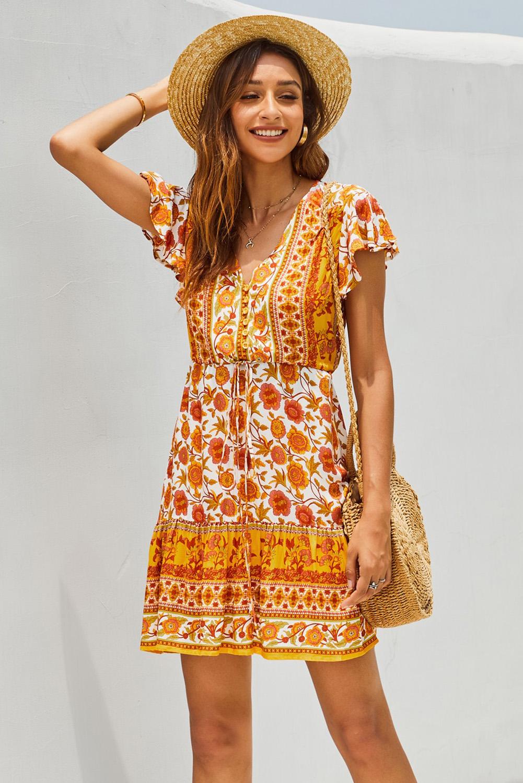 橙色碎花深V高腰绑带荷叶边短袖飘逸迷你连衣裙 LC221235