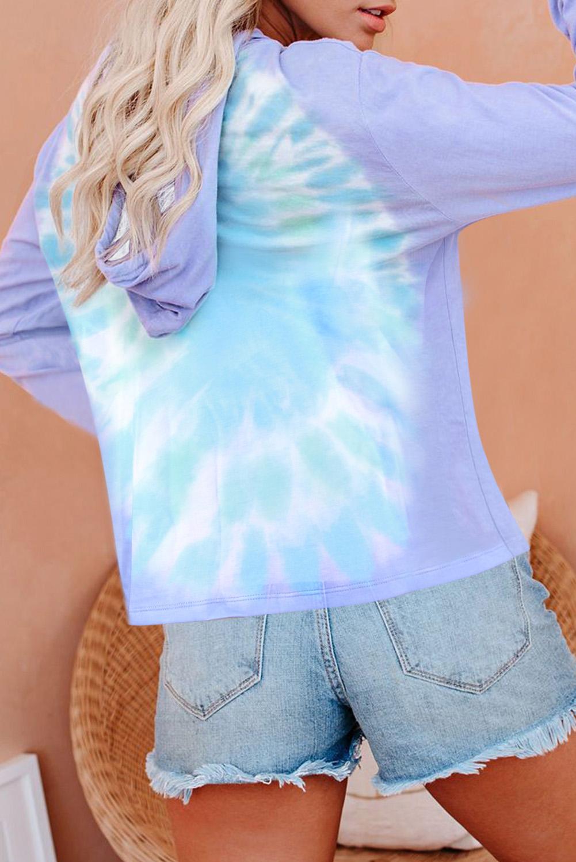 紫蓝拼色扎染V领长袖宽松抽绳连帽衫 LC455003