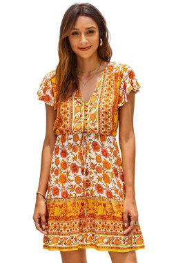 橙色碎花深V高腰绑带荷叶边短袖飘逸迷你连衣裙