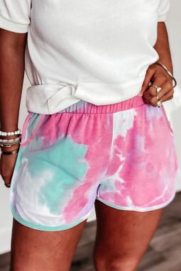 粉色扎染侧口袋休闲运动沙滩短裤