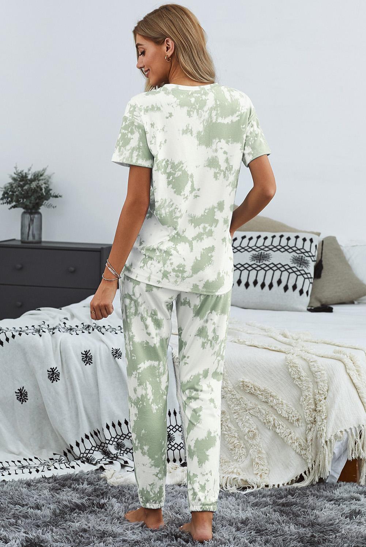 绿色时尚扎染圆领短袖上衣松紧抽绳长裤休闲家居服套装 LC45053