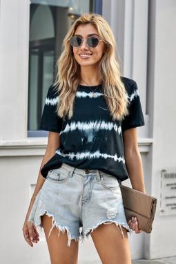 黑色扎染条纹圆领短袖休闲简约女士T恤 LC253605