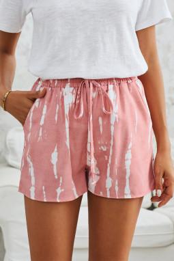 粉色时尚扎染抽绳休闲短裤