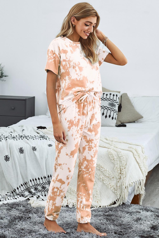 橙色时尚扎染圆领短袖上衣松紧抽绳长裤休闲家居服套装 LC45053