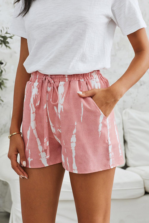 粉色时尚扎染抽绳休闲短裤 LC77002