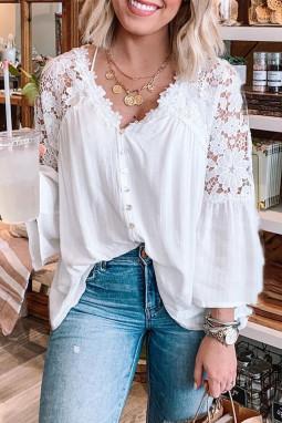 白色排扣V领精美蕾丝拼接长袖宽松飘逸女士衬衫