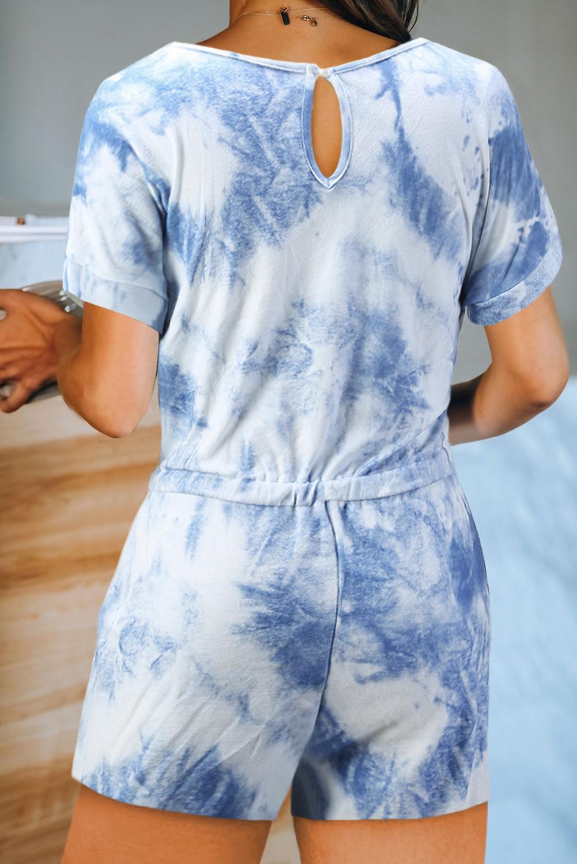 蓝色扎染弹性束带腰圆领短袖口袋短裤连体裤 LC452014
