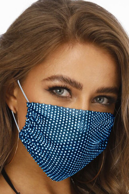 蓝色镶钻透气可水洗重复使用时尚口罩