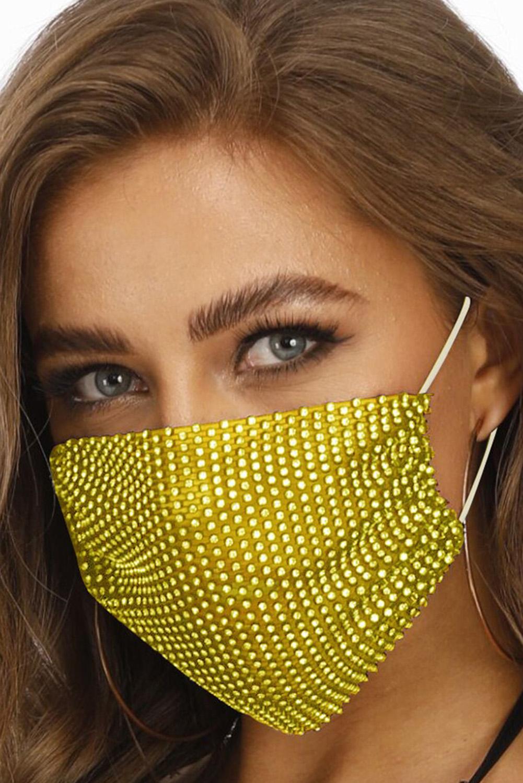 黄色镶钻透气可水洗重复使用时尚口罩 KZ1181