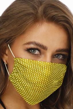 黄色镶钻透气可水洗重复使用时尚口罩
