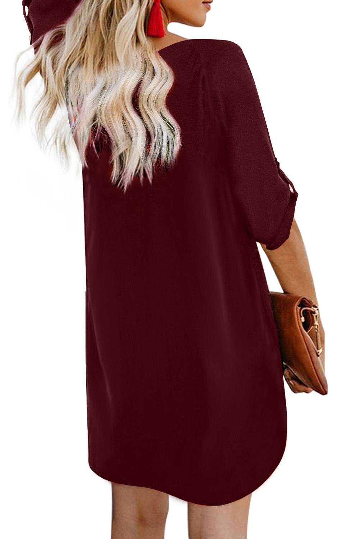 酒红色V领正面排扣卷边袖迷你连衣裙 LC220790