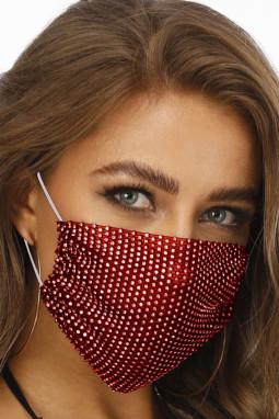 红色镶钻透气可水洗重复使用时尚口罩