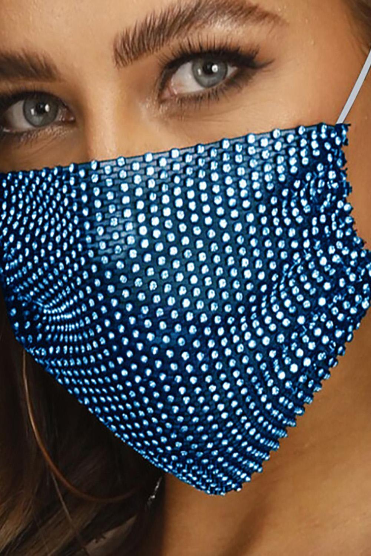 蓝色镶钻透气可水洗重复使用时尚口罩 KZ1181