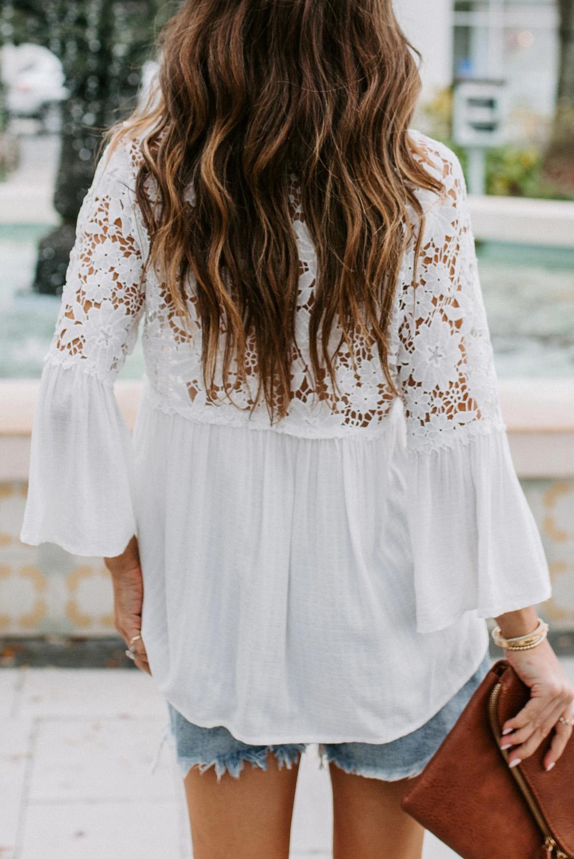 白色排扣V领精美蕾丝拼接长袖宽松飘逸女士衬衫 LC251340