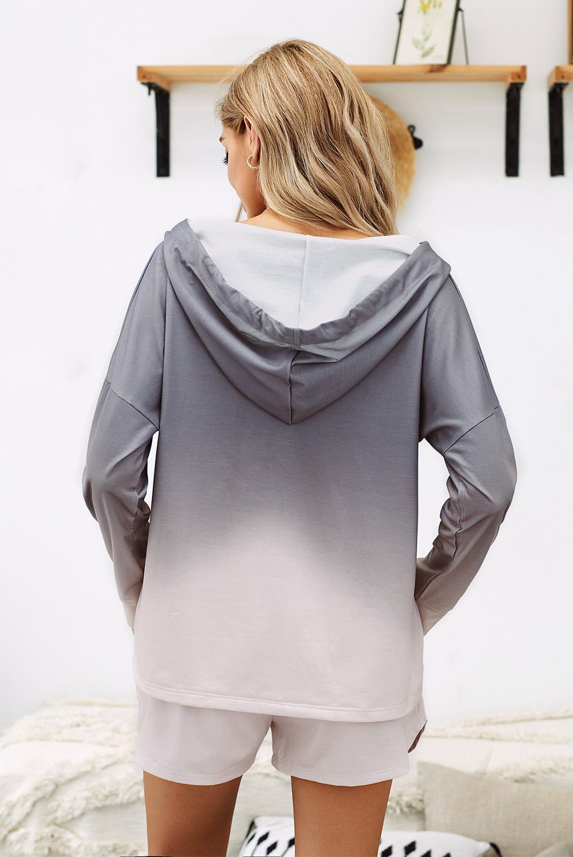 灰色渐变扎染宽松连帽衫短裤时尚休闲两件套 LC45068