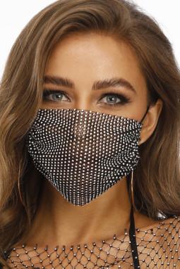 黑色镶钻透气可水洗重复使用时尚口罩