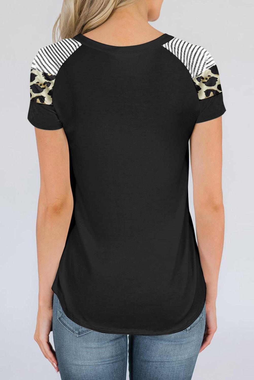 黑色圆领豹纹条纹拼接短袖透气宽松上衣 LC253453