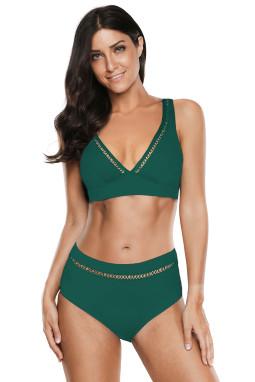 绿色V领镂空高腰海滩泳池派对比基尼两件套