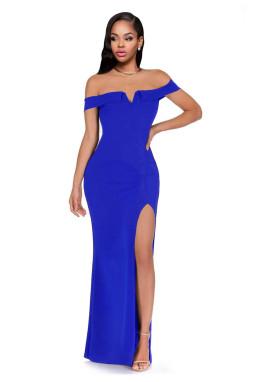 宝蓝色露肩侧开衩优雅长裙