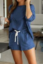 蓝色圆领长袖上衣口袋抽绳短裤家居便服睡衣套装