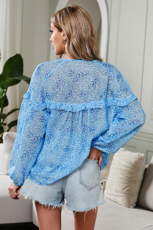 时尚印花宽松灯笼袖荷叶边装饰蓝色上衣 LC251049