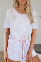淡粉色扎染短袖扇形边短裤休闲家居套装