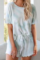 淡蓝色扎染短袖扇形边短裤休闲家居套装