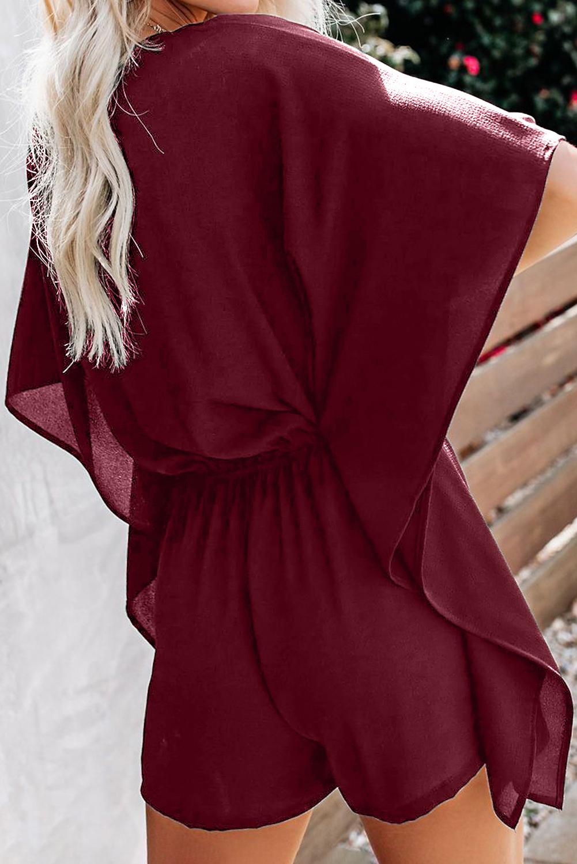 酒红色垂褶飘逸袖腰间绑带舒适连衣裤 LC64669