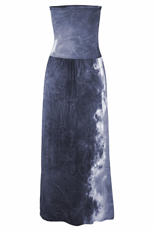 深灰色扎染印花抹胸波西米亚风长款连衣裙 LC611159