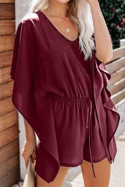 酒红色垂褶飘逸袖腰间绑带舒适连衣裤