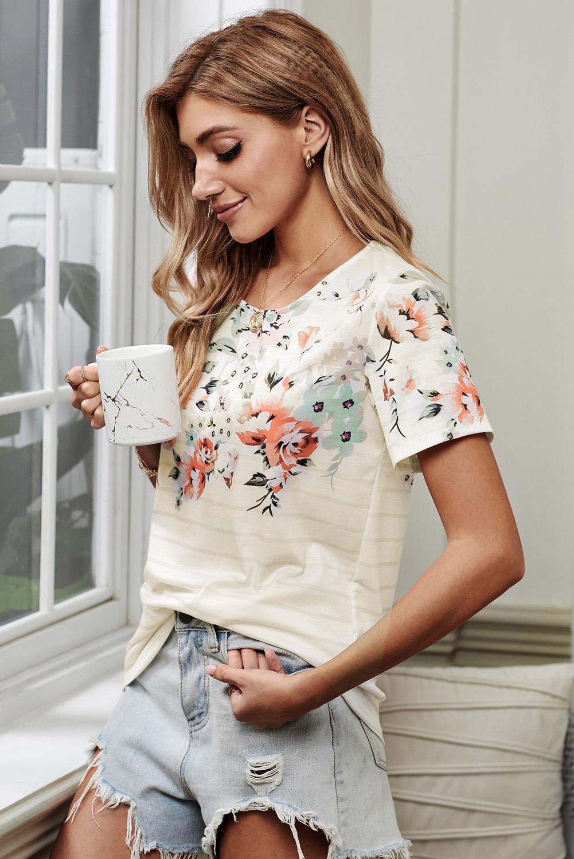 圆领短袖花朵条纹印花舒适透气女士T恤上衣 LC252109