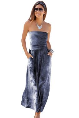 深灰色扎染印花抹胸波西米亚风长款连衣裙