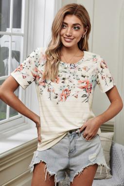 圆领短袖花朵条纹印花舒适透气女士T恤上衣