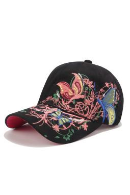 黑色蝴蝶花卉防晒遮阳棒球帽