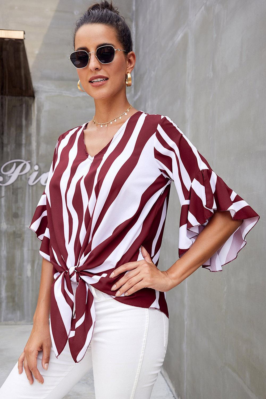 红色时尚垂直条纹V领3/4袖衬衫 LC252269