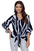 黑色时尚垂直条纹V领3/4袖衬衫