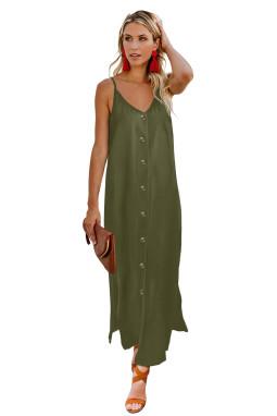 绿色简约排扣V领吊带宽松舒适连衣长裙