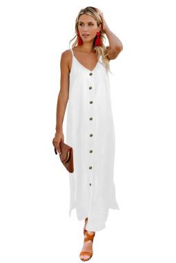 白色简约排扣V领吊带宽松舒适连衣长裙